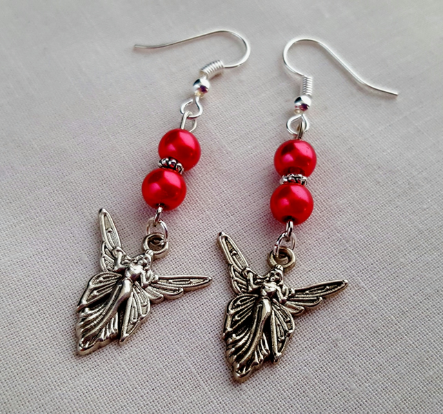 Angel or fairy earrings - cerise and silver