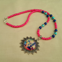 Pink, blue and Tibetan silver Cosmos necklace - 1001659