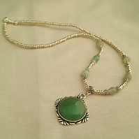 Green aventurine and Tibetan silver necklace - 1001671