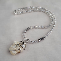 Clear and silver bead necklace with white nugget pendant - 1001662