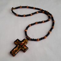 Black and copper lampwork crucifix necklace - 1001676