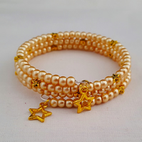 Dainty gold beaded wrap bracelet - 2001191
