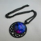 Cosmos necklace - pink and purple - on black chain