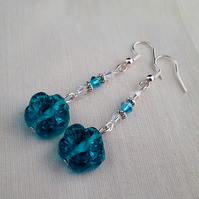 Turquoise glass flower earrings
