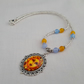 Blue and orange bead necklace with sun face pendant - 1001699