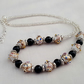 White Indian lampwork and black glass pearl necklace - 1001815