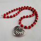 Red marbled glass bead necklace with Tibetan silver heart pendant 1001799