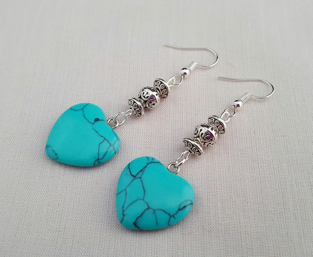 Marbled turquoise heart earrings