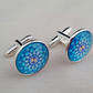 Blue patterned glass cufflinks