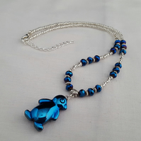 Blue hematite penguin necklace - 1001904