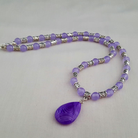Purple alexandrite and agate necklace - 1001943