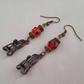 Rocking chair earrings with red and black lampwork beads