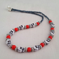 Red, white and black skull necklace - 1001961