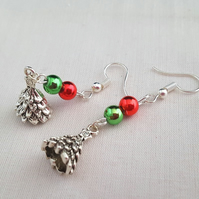 Christmas tree earrings - red, green and silver