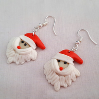 Christmas Fimo earrings - Santa faces