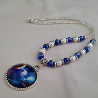 Shimmery purple and silver Cosmos necklace - 1002039
