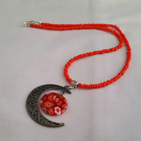 Red and black moon and planet necklace - 1002041