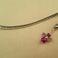 Tibetan silver bookmark with magenta angel charm