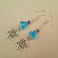 Turquoise, purple and silver star earrings