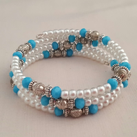 White, turquoise and silver beaded wrap bracelet - 2001311