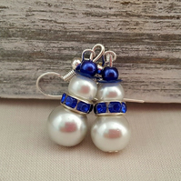 Blue and white pearly snowmen earrings