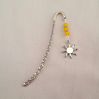 Sunburst bookmark - Tibetan silver with yellow jade beads