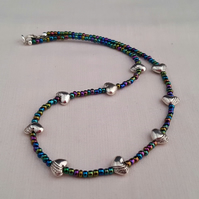 Iris lustre seed bead necklace with Tibetan silver hearts - 1002055