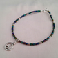 Iris lustre seed bead anklet with peace sign charm - 2001313