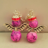 Pink marbled glass angel earrings