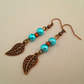 Turquoise and copper leaf earrings
