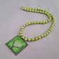 Green bead necklace with square tree pendant - 1002089