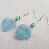 Silver and sea green lucite leaf earrings