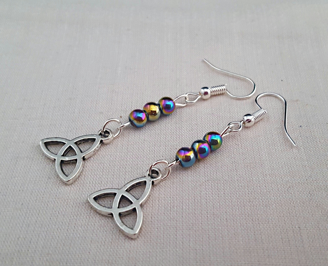 Celtic Triquetra earrings with rainbow Mardi Gras beads