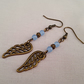 Blue jade and bronze angel wing earrings