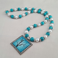 Turquoise and white Winter Tree necklace - 1002157