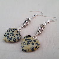 Dalmatian jasper heart earrings
