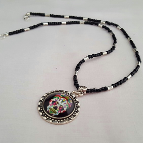 Black beaded sugar skull necklace - 1001555S