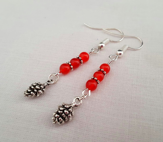 Silver pine cone earrings with red jade beads