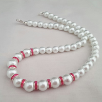White glass pearl necklace with pink diamante spacers - 1002207