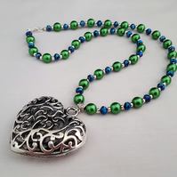 Green and blue glass bead necklace with puffed heart pendant  - 1002215