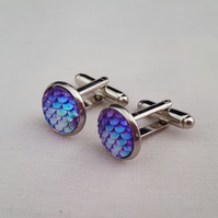 Pink-purple iridescent dragon egg cufflinks