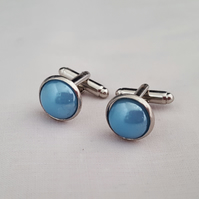 Blue pearlised glass cufflinks