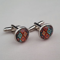 Multi coloured diamond patterned cufflinks