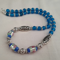 Blue lampwork and frosted glass bead necklace - 1002225