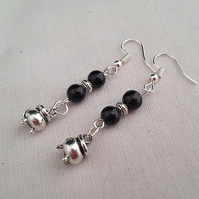 Black and silver cauldron earrings