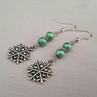 Snowflake earrings - sea green and silver