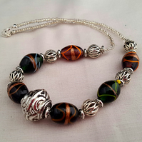 Brown and green lampwork glass bead necklace - 1002233