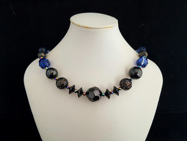 Gunmetal, blue and rainbow Mardi Gras bead necklace - 1002250