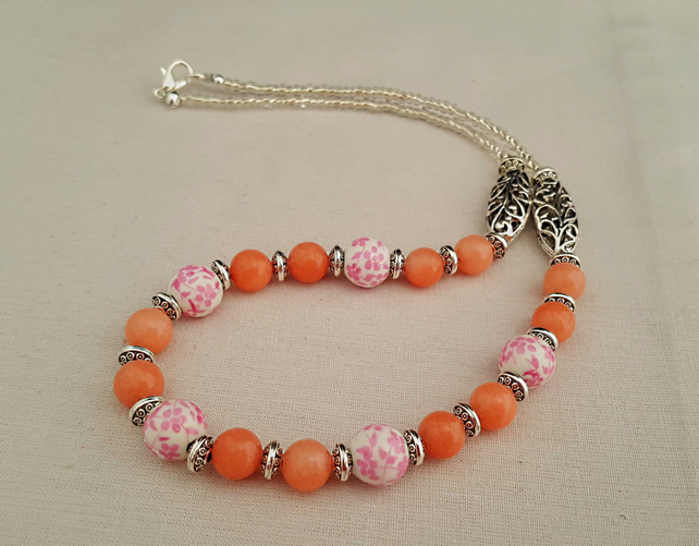 Pink ceramic and gemstone bead necklace - 1002270
