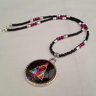 Black, magenta and silver Christmas tree necklace - 1002266
